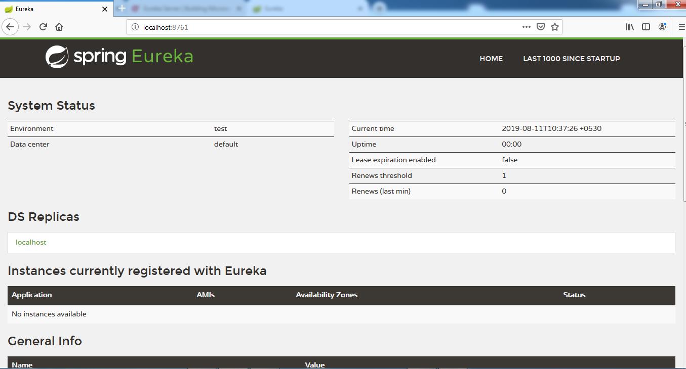 Eureka server console