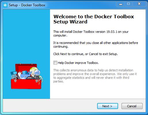 Docker toolbox installation on windows
