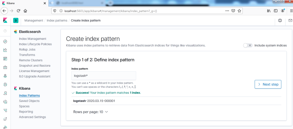 Kibana configuration index pattern