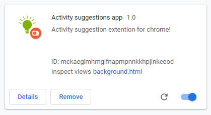 google chrome extension activity suggestion.